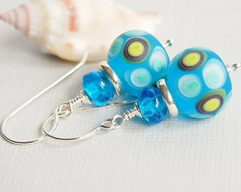Turquoise Glass Bead Earrings, Etched, Blue, Artisan Lampwork, Sterling Silver - MARINE