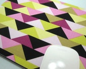 Buy 2 FREE SHIPPING Special!!   Mouse Pad, Computer Mouse Pad, Fabric Mousepad       Triangles in Jewel