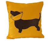Cone Dog Pillow / Dotson Pillow / Doxie Pillow / Dachshund Pillow / Yellow Cone Dog Pillow
