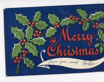 Christmas Postcard  Holiday Greetings vintage postcard, holly berry wreath,  white ribbon, strong graphics, undivided
