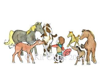 Children's Art -- All The Pretty Little Ponies -- Art Print