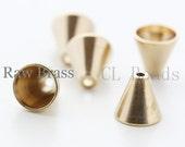 20pcs Raw Brass Bead Cap - Cone 8x7.5mm (1725C-T-53)