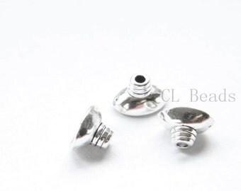 30pcs Oxidized Silver Tone Base Metal Caps-12x7mm (19376Y-P-286)