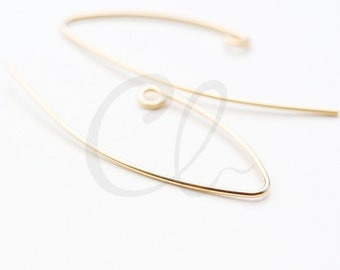 2pcs (1 Pair) 14K Gold Filled V Shape Earring Hooks - Ear Wire 35x13mm (6455)