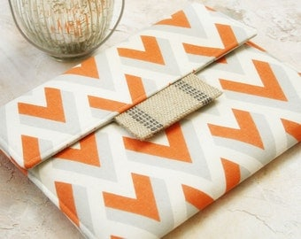 Kindle Cover Padded, Kindle Case, Nook Cover , Ereader Case, Custom Sleeve in Orange Sherbet Chevron