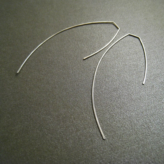 Sterling Silver Dangle Earrings - Arcs - 3 Inches Long - Hammered - Thin and Dainty - Simple Modern Minimal Wire Jewelry