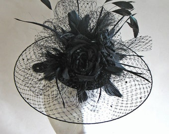 Black velvet cocktail hat - velvet rose veiled hat - black wedding hat