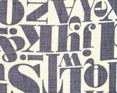 Fat Quarter -Letterpress Letters Grey Yellow Fabric Michael Miller DC6125-GRAY-D