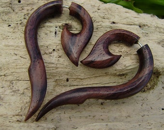 Fake Gauge earrings -  Wood  Organic ,Tribal  style,hand made,Expander Split naturally