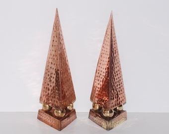 Vintage Hammered Copper & Brass Obelisks, Pair