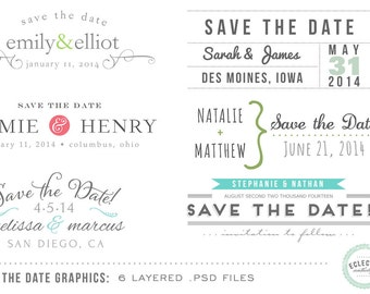 INSTANT DOWNLOAD - 6 Save the Date Wedding Overlay Graphics - Layered .psd files