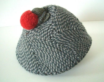 Vintage Beachurst Gray Hat with Red Pom Pom