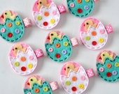 Easter Egg Chick Felt Hair Clip - Pick 1 Pink and Aqua or Hot Pink and White - Easter felt chick clippies