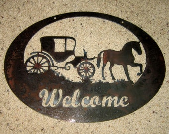 Horse and Buggy Welcome-Home decor-wall art-welcome sign-equine art