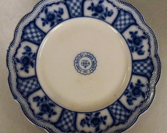 Antique Flow BLUE 1904 Commemorative plate Ladies Aux First Babtist Church 10in diam