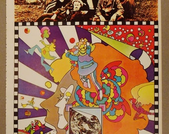 PETER MAX POSTER 1970 Second Printing Faces  Pic nic 1970  16 X 11