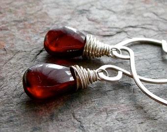 Garnet Smooth Teardrop Briolettes Sterling Silver Earrings