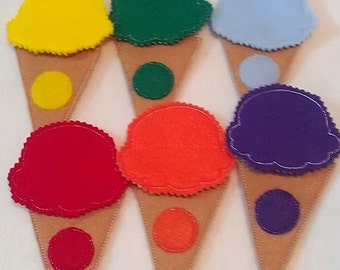 Felt learn yoru colors ice cream cone game- educational game learning toy- color matching game #57GAME
