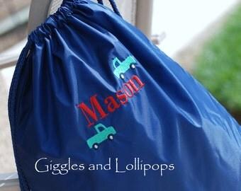 Boys girls personalized sports or cars cinch sak backpack ring bearer flower girl gift