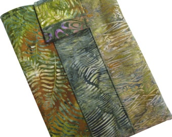Tablet Sleeve Padded in Green and Brown Batik