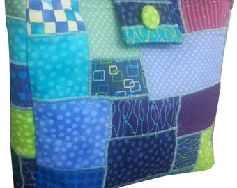 Patchwork Purse in Blue Green and Purple Fabrics