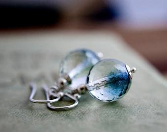 Dangle Earrings, Glass Earrings, Czech Glass Earrings, Mermaid Earrings, Sterling Silver, Teal, Ocean, Nautical, Drop Earrings, PoleStar