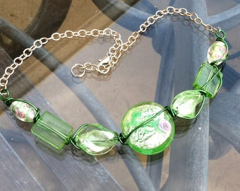 Mint green glass bead necklace
