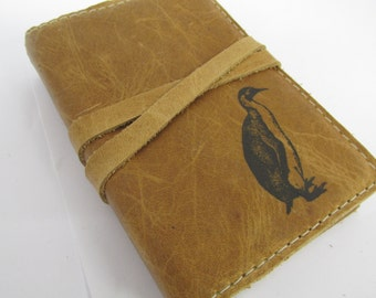 small leather journal/sketchbook hand-printed free customization