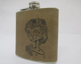 leather flask - hip flask - Wedding party - handmade leather flask