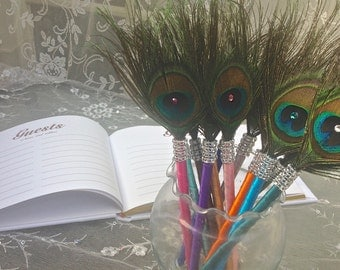 SPECIAL ORDER - 120 Peacock Feather Favor Pens with BLING in Teal, Purple and Turquoise for Annar