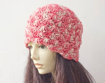 1920s Cloche Hat, Winter Hat, Hand Crocheted Hat, Red White Hat, Ready to Ship