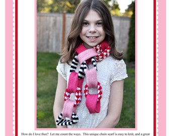 All My Love Chain Scarf  - Knitting Pattern PDF