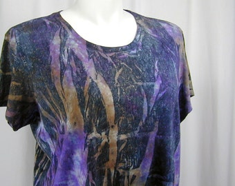 The Forest for the Trees in Sepia, Violet, and Black. A Hand Dyed DevoTee Organic Cotton and Bamboo Tee (2xl, extra extra large)
