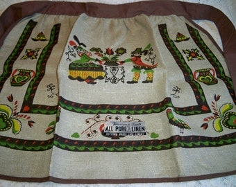 SALE! Vintage Parisian Prints Penn Dutch Linen Kitchen Apron Mint With Tag Brown Trim