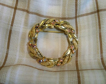 SALE! Vintage Gerrys Golden Braided Wreath Brooch Pink AB Rhinestones