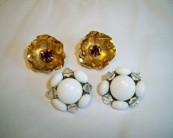 SALE! Vintage 1950s Milk Glass and Floral Rhinestone Earrings Lot 2 Pairs Clip Back