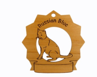 7352 Russian Blue Cat Sitting Personalized Wood Ornament