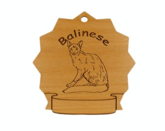 7065 Balinese Cat Personalized Wood Ornament