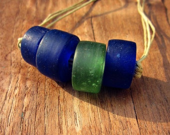 Adjustable Unisex Blue and Green Glass Bead on Cotton Cord Necklace: Abacus