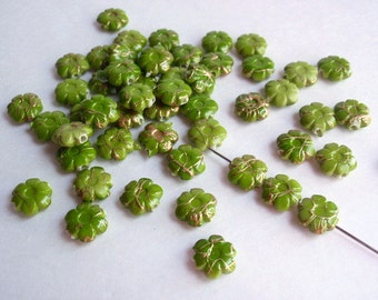 25 Flower Shaped Drawbench Beads, Jewelry making Supply, Olive Green with golden thread-like patterns,  Acrylic bead