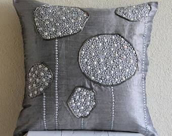 "Grey Decorative Pillow Cover,  Square  3D Metallic Sequins And Beaded Flower 16""x16"" Silk Pillows Covers For Couch - Silver Ball Bearings"