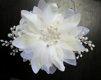 Bridal Hair Flower Wedding Fabric Flower with Pearls Crystals Rhinestone Vines and Lace Applique