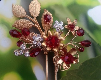 Red and Gold Hair Pin with Swarovski Crystals, Modern Tea Ceremony Headpiece