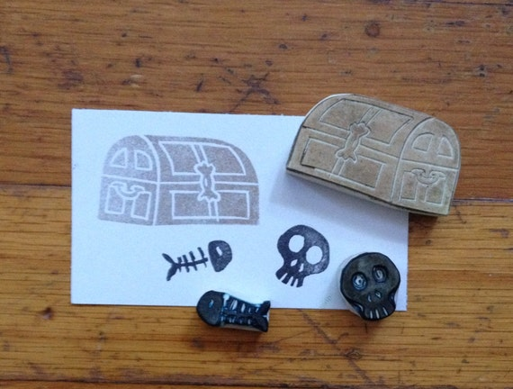 Treasure Chest Rubber Stamp Set Hand Carved