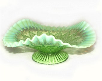 Northwood Glass Candy Dish Green Opalescent Leaf & Beads, footed compote, fluted, crimped, signed N