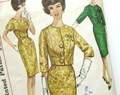 1960s Vintage Sewing Pattern - Rockabilly Wiggle Dress - Cropped Jacket Jackie O Suit - Mad Men - Simplicity 4689 / Size 18.5