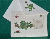 "NOTECARDS--""Hop to it"" Frogs in Fabric Applique"
