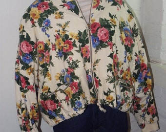 Vintage Floral Corduroy Bomber S-XL 80's