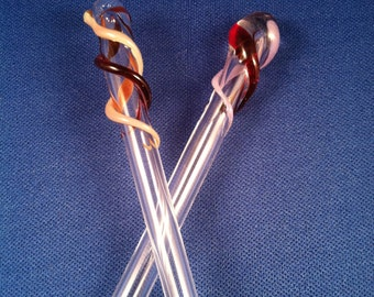 Blown glass hair sticks- set of 2