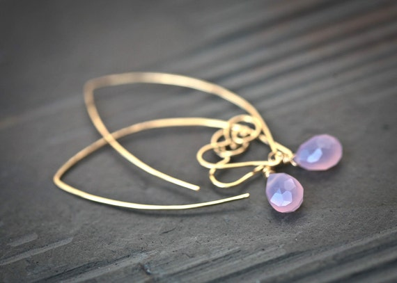 Heart Within - 14k Gold Filled Wire Sculpted Hoops with Lavender Chalcedony Briolettes